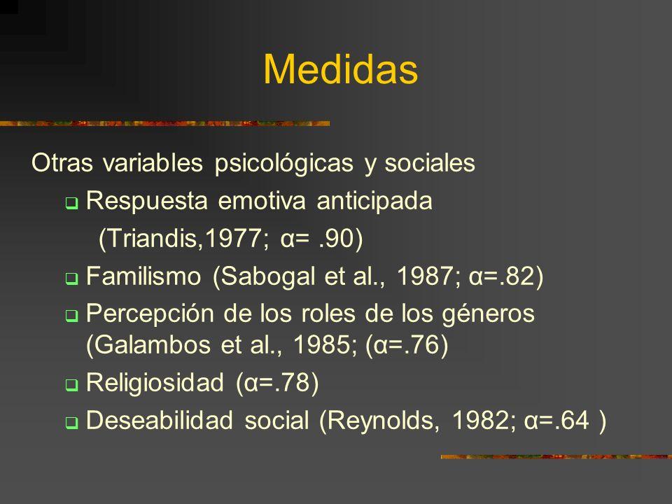Medidas Otras variables psicológicas y sociales Respuesta emotiva anticipada (Triandis,1977; α=.90) Familismo (Sabogal et al., 1987; α=.82) Percepción