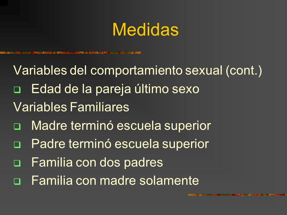 Medidas Variables del comportamiento sexual (cont.) Edad de la pareja último sexo Variables Familiares Madre terminó escuela superior Padre terminó es