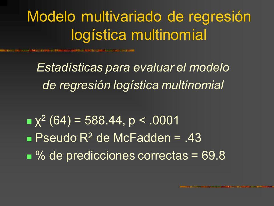 Modelo multivariado de regresión logística multinomial Estadísticas para evaluar el modelo de regresión logística multinomial χ 2 (64) = 588.44, p <.0