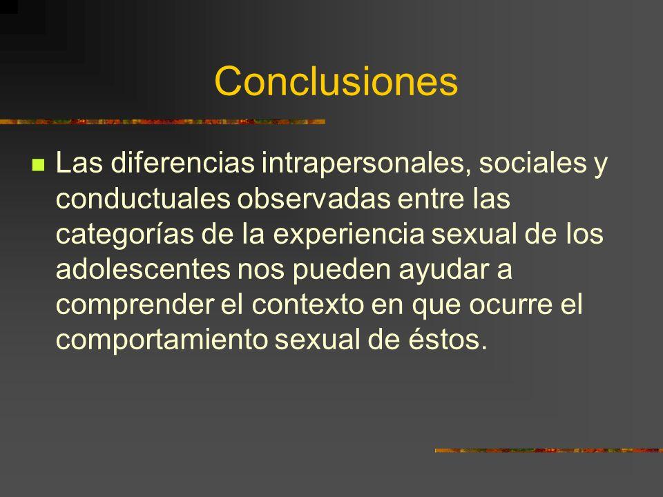 Conclusiones Las diferencias intrapersonales, sociales y conductuales observadas entre las categorías de la experiencia sexual de los adolescentes nos