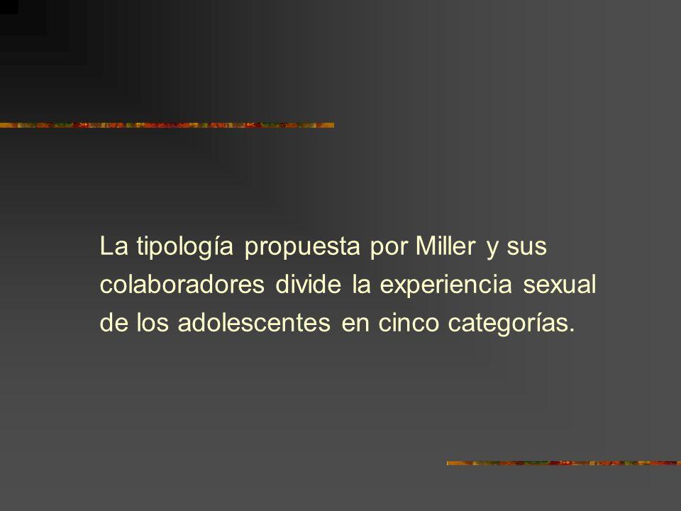 La tipología propuesta por Miller y sus colaboradores divide la experiencia sexual de los adolescentes en cinco categorías.