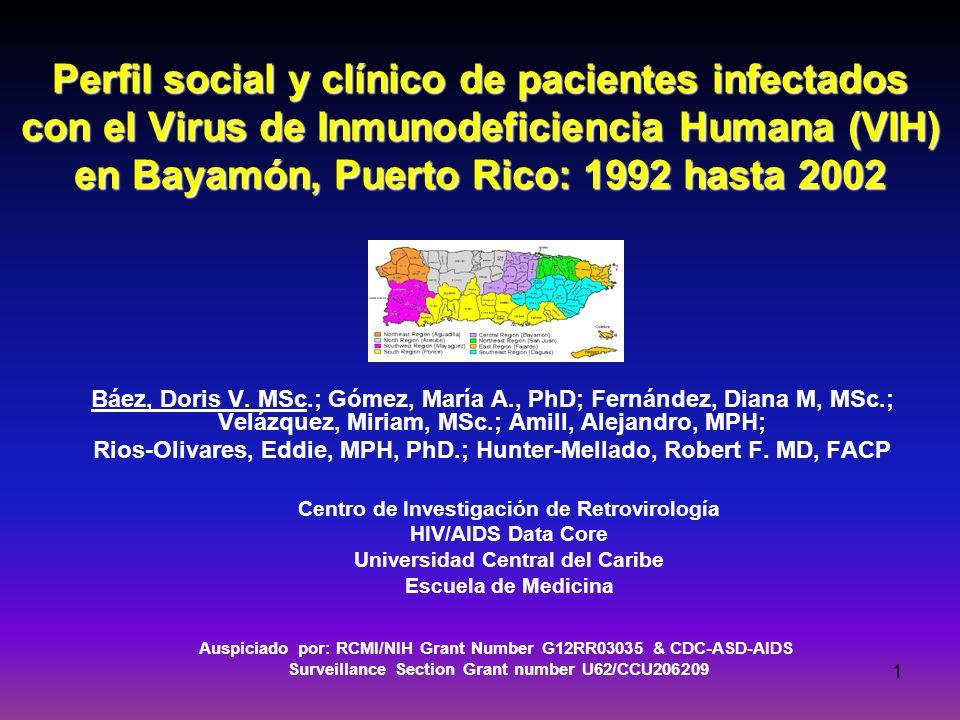 1 Perfil social y clínico de pacientes infectados con el Virus de Inmunodeficiencia Humana (VIH) en Bayamón, Puerto Rico: 1992 hasta 2002 Báez, Doris