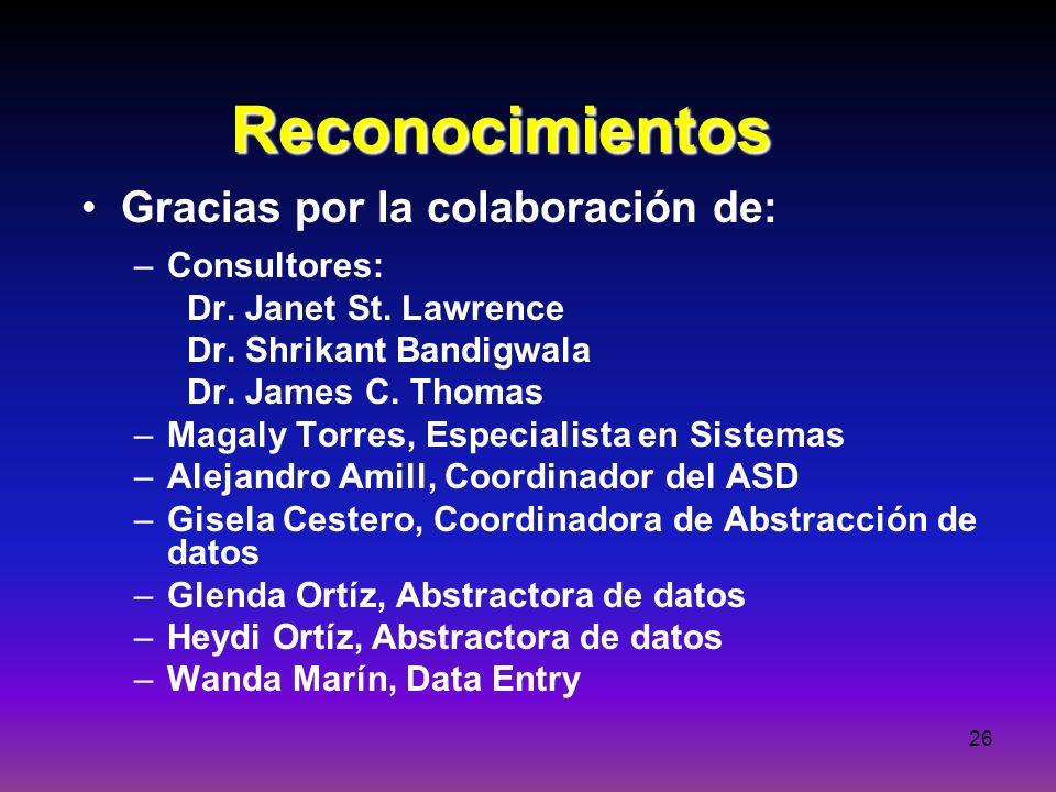 26 Reconocimientos Gracias por la colaboración de: –Consultores: Dr. Janet St. Lawrence Dr. Shrikant Bandigwala Dr. James C. Thomas –Magaly Torres, Es