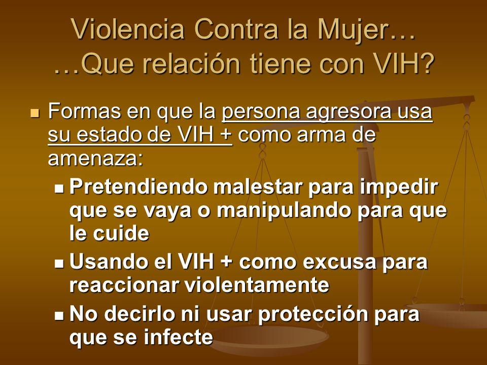 Formas en que la persona agresora usa su estado de VIH + como arma de amenaza: Formas en que la persona agresora usa su estado de VIH + como arma de a