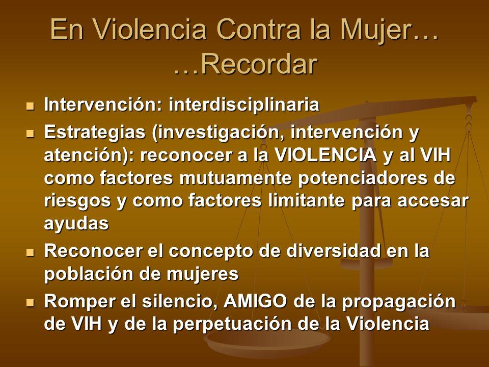 Intervención: interdisciplinaria Intervención: interdisciplinaria Estrategias (investigación, intervención y atención): reconocer a la VIOLENCIA y al