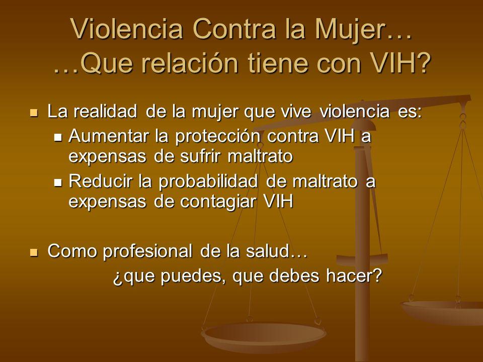 Violencia Contra la Mujer… …Que relación tiene con VIH? La realidad de la mujer que vive violencia es: La realidad de la mujer que vive violencia es: