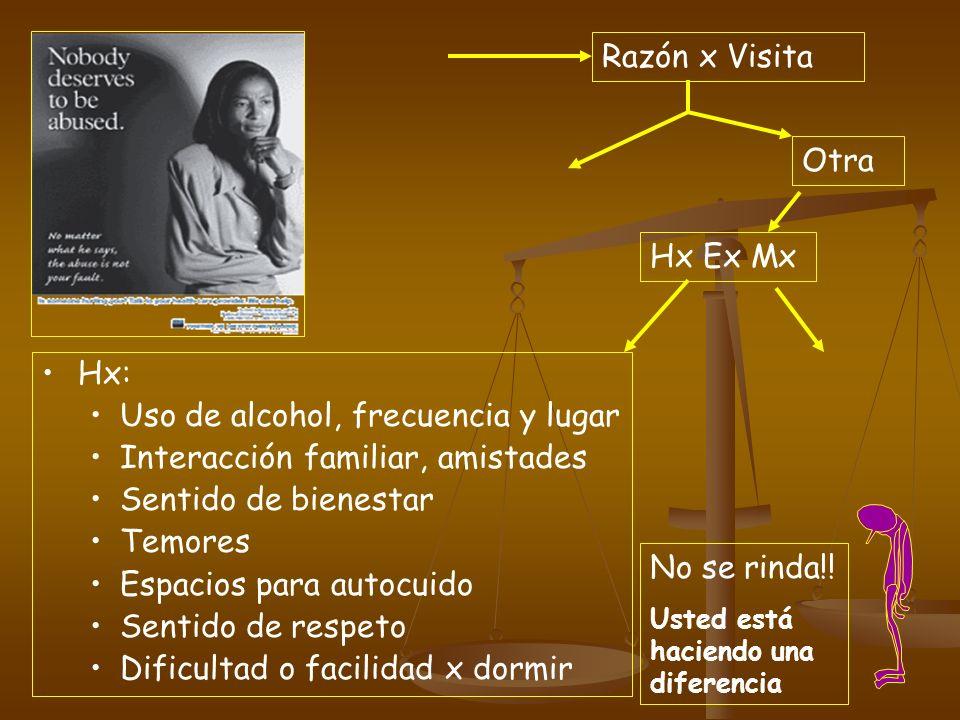 Razón x Visita Otra Hx Ex Mx Hx: Uso de alcohol, frecuencia y lugar Interacción familiar, amistades Sentido de bienestar Temores Espacios para autocui