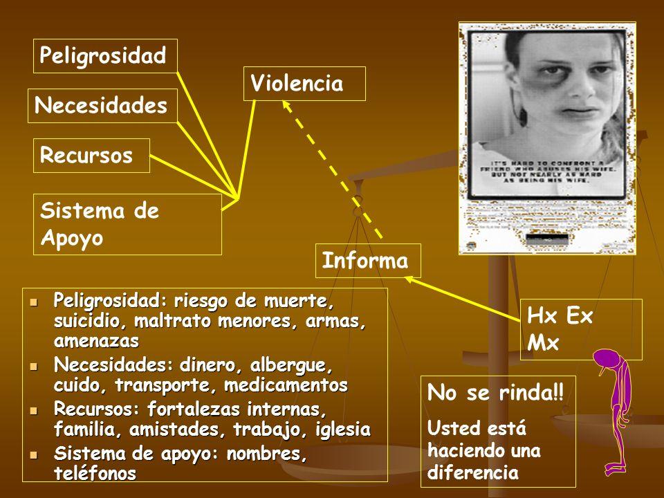 Violencia Peligrosidad Sistema de Apoyo Recursos Necesidades Hx Ex Mx Informa Peligrosidad: riesgo de muerte, suicidio, maltrato menores, armas, amena