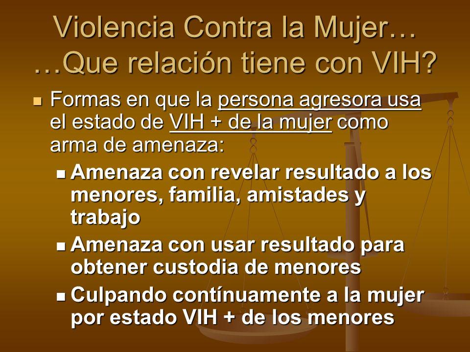 Formas en que la persona agresora usa el estado de VIH + de la mujer como arma de amenaza: Formas en que la persona agresora usa el estado de VIH + de