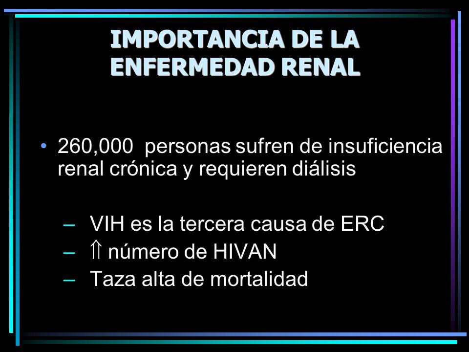 IMPORTANCIA DE LA ENFERMEDAD RENAL 260,000 personas sufren de insuficiencia renal crónica y requieren diálisis – VIH es la tercera causa de ERC – núme