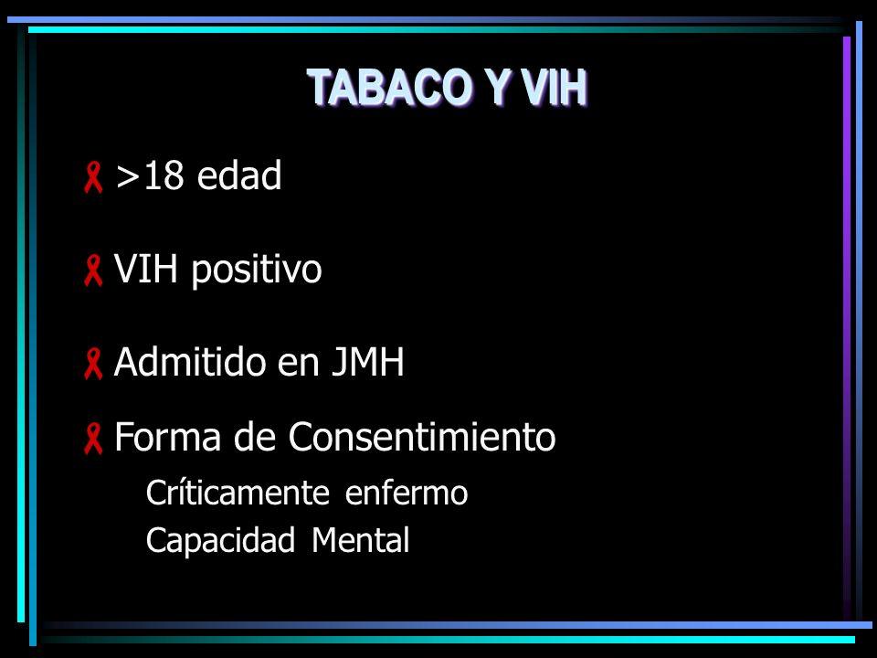 >18 edad VIH positivo Admitido en JMH Forma de Consentimiento Críticamente enfermo Capacidad Mental TABACO Y VIH