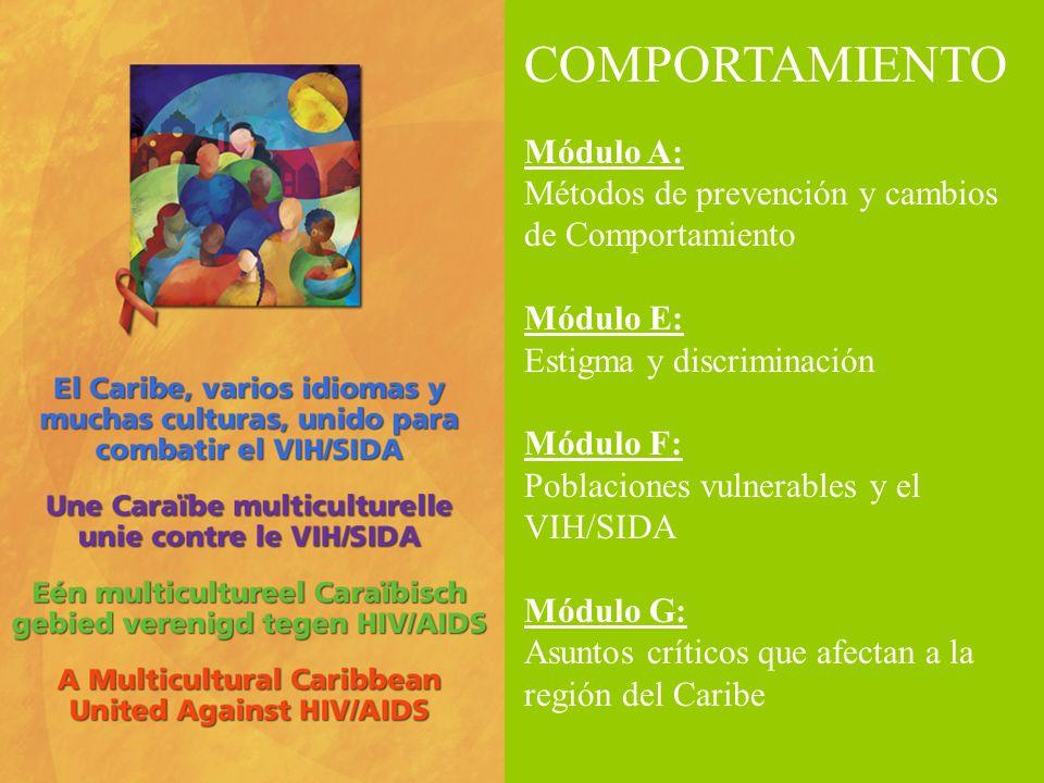 COMPORTAMIENTO Módulo A: Métodos de prevención y cambios de Comportamiento Módulo E: Estigma y discriminación Módulo F: Poblaciones vulnerables y el V