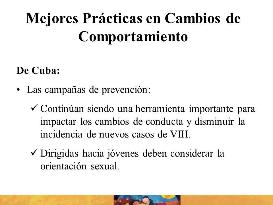 De Cuba: Las campañas de prevención: Continúan siendo una herramienta importante para impactar los cambios de conducta y disminuir la incidencia de nu