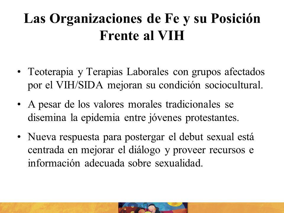Las Organizaciones de Fe y su Posición Frente al VIH Teoterapia y Terapias Laborales con grupos afectados por el VIH/SIDA mejoran su condición sociocu