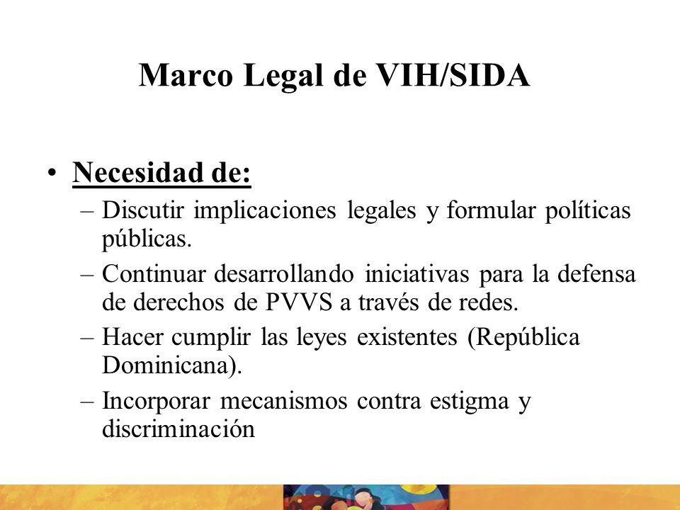 Marco Legal de VIH/SIDA Necesidad de: –Discutir implicaciones legales y formular políticas públicas. –Continuar desarrollando iniciativas para la defe
