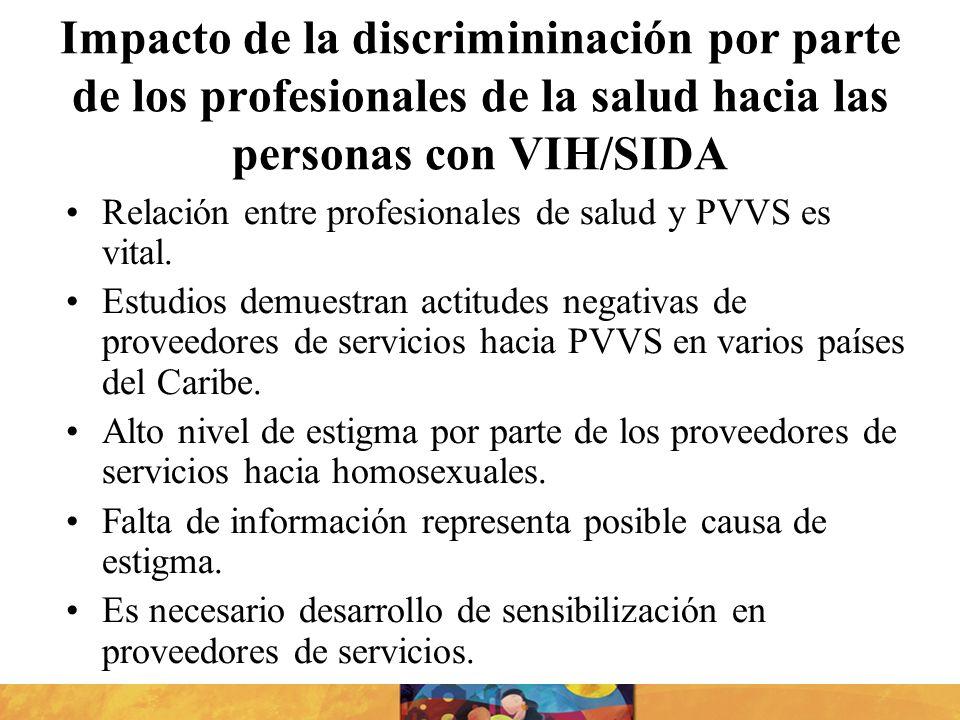 Impacto de la discrimininación por parte de los profesionales de la salud hacia las personas con VIH/SIDA Relación entre profesionales de salud y PVVS