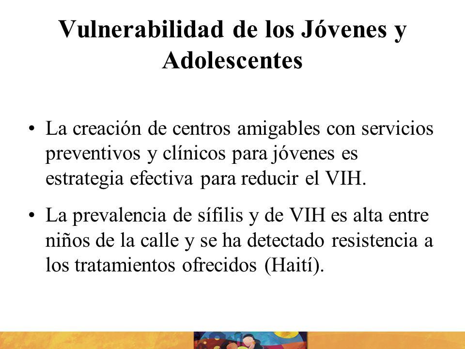 Vulnerabilidad de los Jóvenes y Adolescentes La creación de centros amigables con servicios preventivos y clínicos para jóvenes es estrategia efectiva