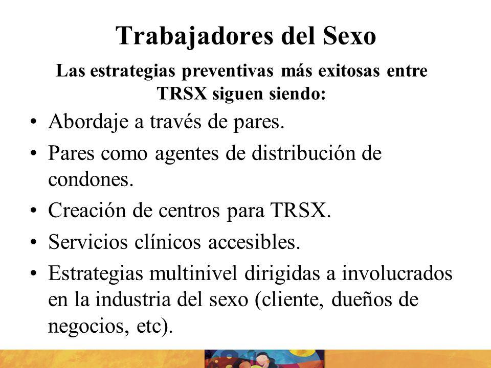 Trabajadores del Sexo Abordaje a través de pares. Pares como agentes de distribución de condones. Creación de centros para TRSX. Servicios clínicos ac