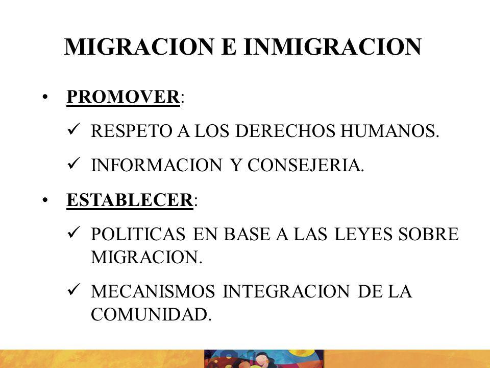 PROMOVER: RESPETO A LOS DERECHOS HUMANOS. INFORMACION Y CONSEJERIA. ESTABLECER: POLITICAS EN BASE A LAS LEYES SOBRE MIGRACION. MECANISMOS INTEGRACION