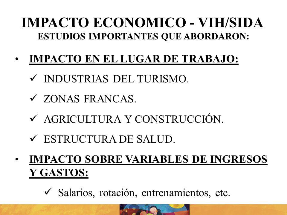 IMPACTO EN EL LUGAR DE TRABAJO: INDUSTRIAS DEL TURISMO. ZONAS FRANCAS. AGRICULTURA Y CONSTRUCCIÓN. ESTRUCTURA DE SALUD. IMPACTO SOBRE VARIABLES DE ING