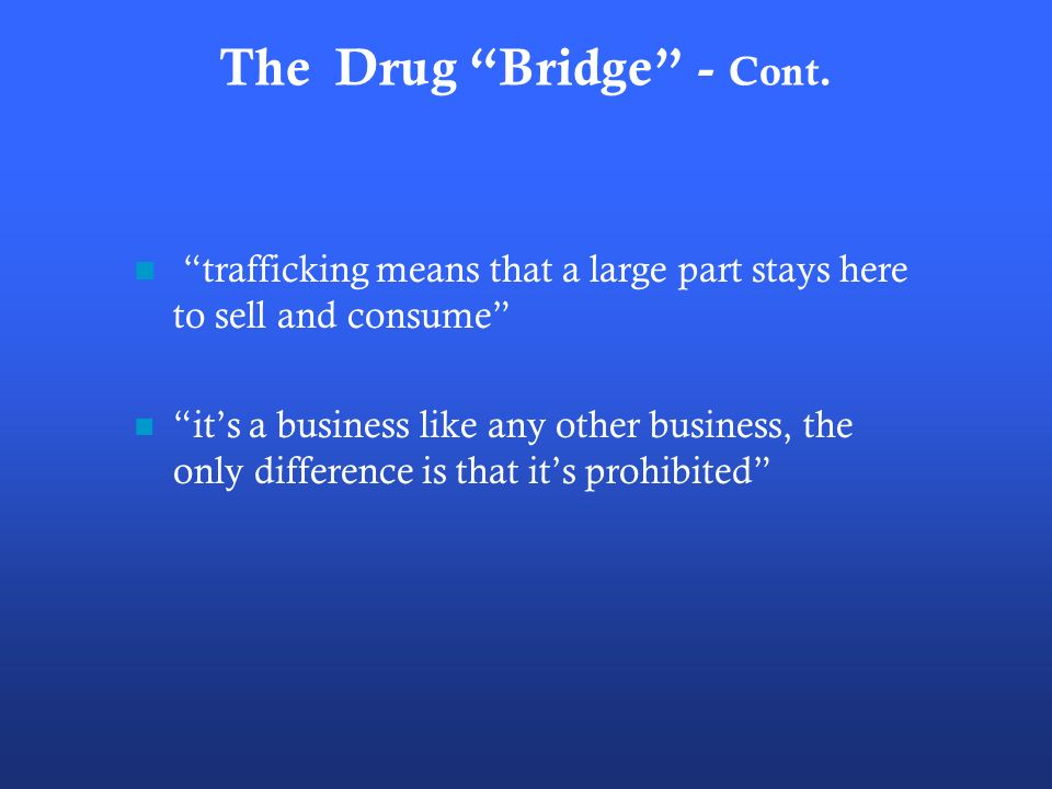 The Drug Bridge - Cont.
