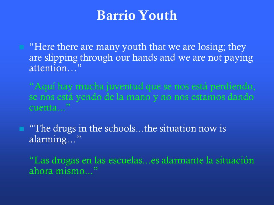 Barrio Youth Here there are many youth that we are losing; they are slipping through our hands and we are not paying attention… Aquí hay mucha juventud que se nos está perdiendo, se nos está yendo de la mano y no nos estamos dando cuenta...