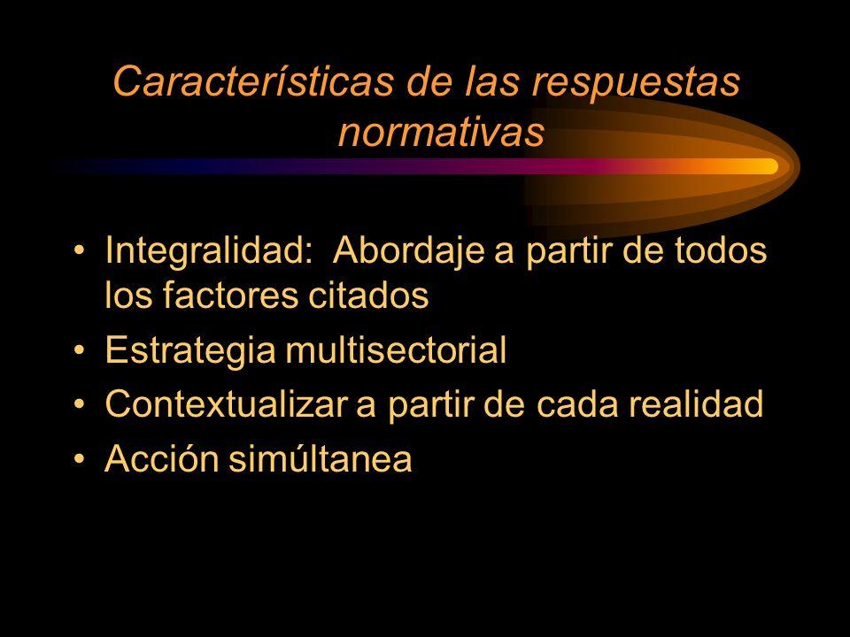 Características de las respuestas normativas Integralidad: Abordaje a partir de todos los factores citados Estrategia multisectorial Contextualizar a