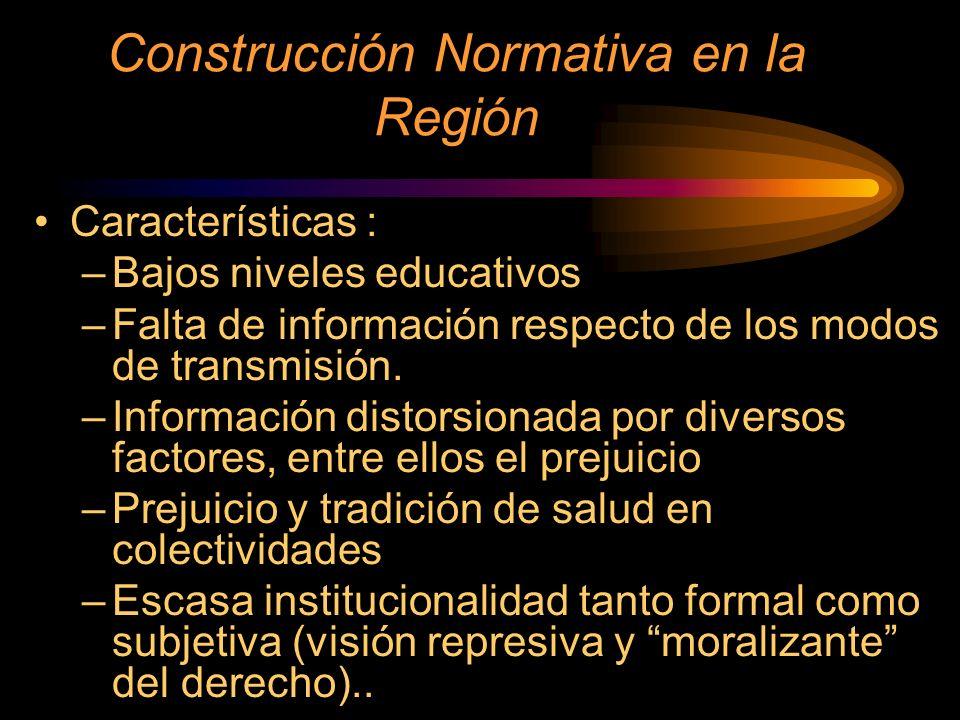 Construcción Normativa en la Región Características : –Bajos niveles educativos –Falta de información respecto de los modos de transmisión. –Informaci