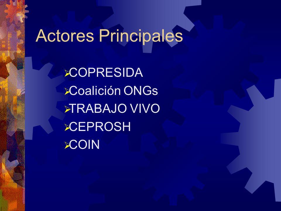 Actores Principales COPRESIDA Coalición ONGs TRABAJO VIVO CEPROSH COIN