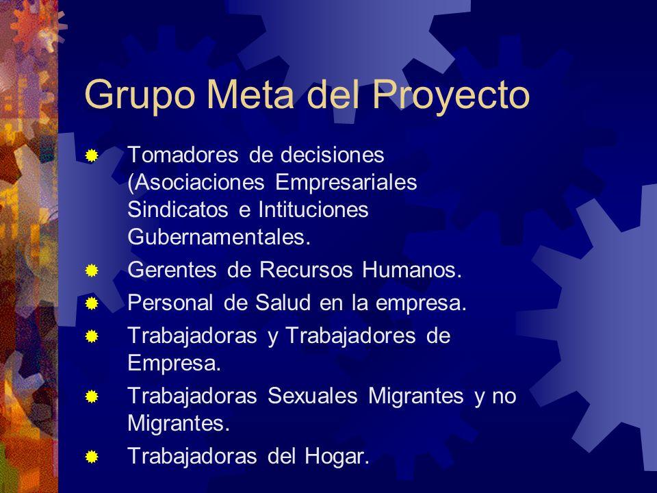 Grupo Meta del Proyecto Tomadores de decisiones (Asociaciones Empresariales Sindicatos e Intituciones Gubernamentales.