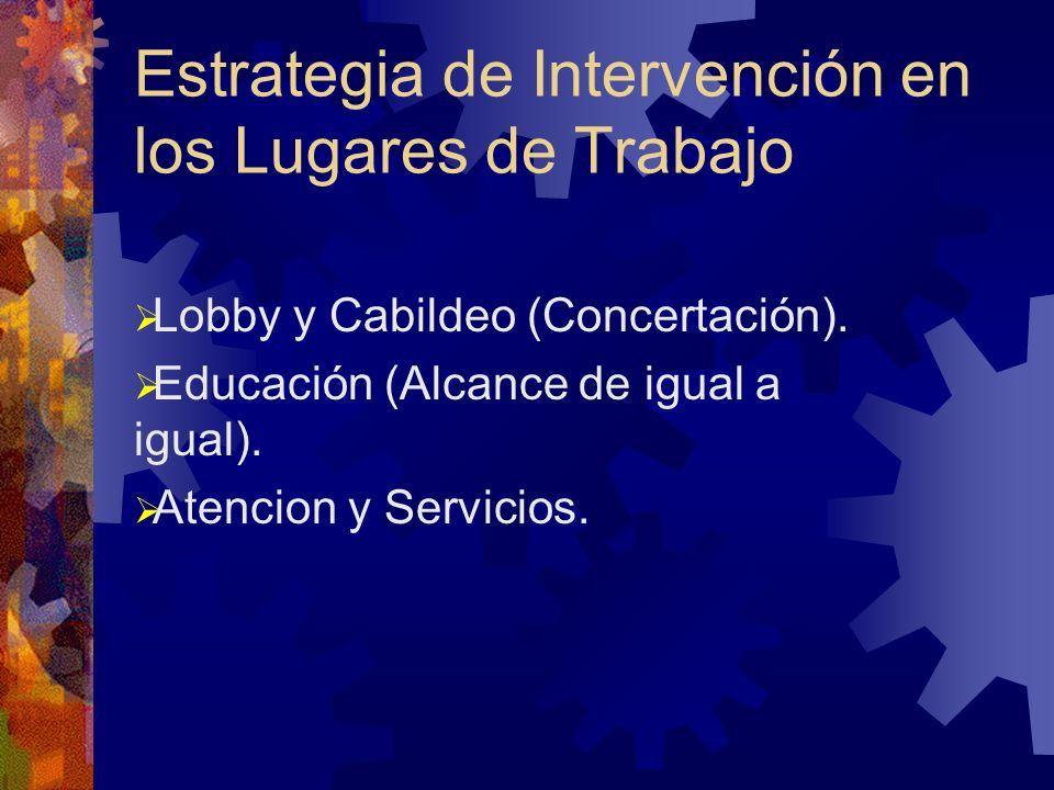 Estrategia de Intervención en los Lugares de Trabajo Lobby y Cabildeo (Concertación).