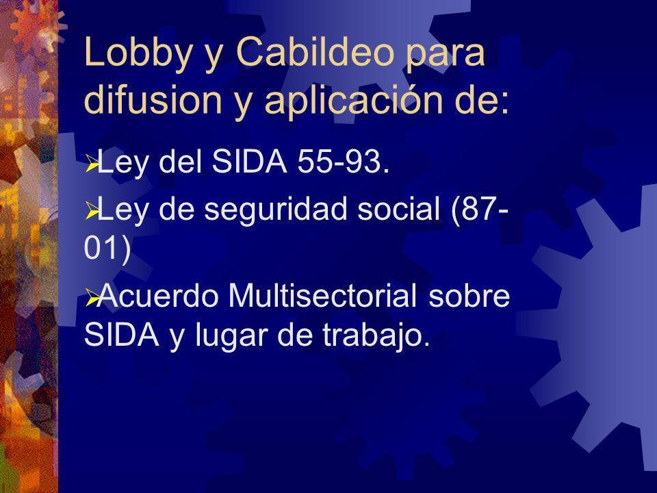 Lobby y Cabildeo para difusion y aplicación de: Ley del SIDA 55-93.