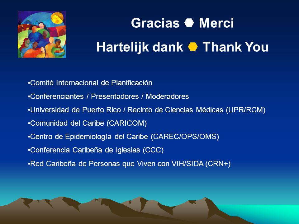 Gracias Merci Hartelijk dank Thank You Comité Internacional de Planificación Conferenciantes / Presentadores / Moderadores Universidad de Puerto Rico / Recinto de Ciencias Médicas (UPR/RCM) Comunidad del Caribe (CARICOM) Centro de Epidemiología del Caribe (CAREC/OPS/OMS) Conferencia Caribeña de Iglesias (CCC) Red Caribeña de Personas que Viven con VIH/SIDA (CRN+)