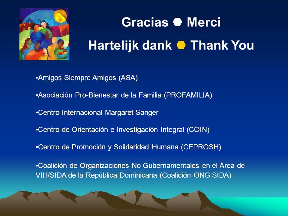 Amigos Siempre Amigos (ASA) Asociación Pro-Bienestar de la Familia (PROFAMILIA) Centro Internacional Margaret Sanger Centro de Orientación e Investigación Integral (COIN) Centro de Promoción y Solidaridad Humana (CEPROSH) Coalición de Organizaciones No Gubernamentales en el Área de VIH/SIDA de la República Dominicana (Coalición ONG SIDA) Gracias Merci Hartelijk dank Thank You