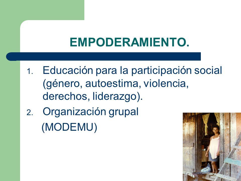 EMPODERAMIENTO. 1. Educación para la participación social (género, autoestima, violencia, derechos, liderazgo). 2. Organización grupal (MODEMU)