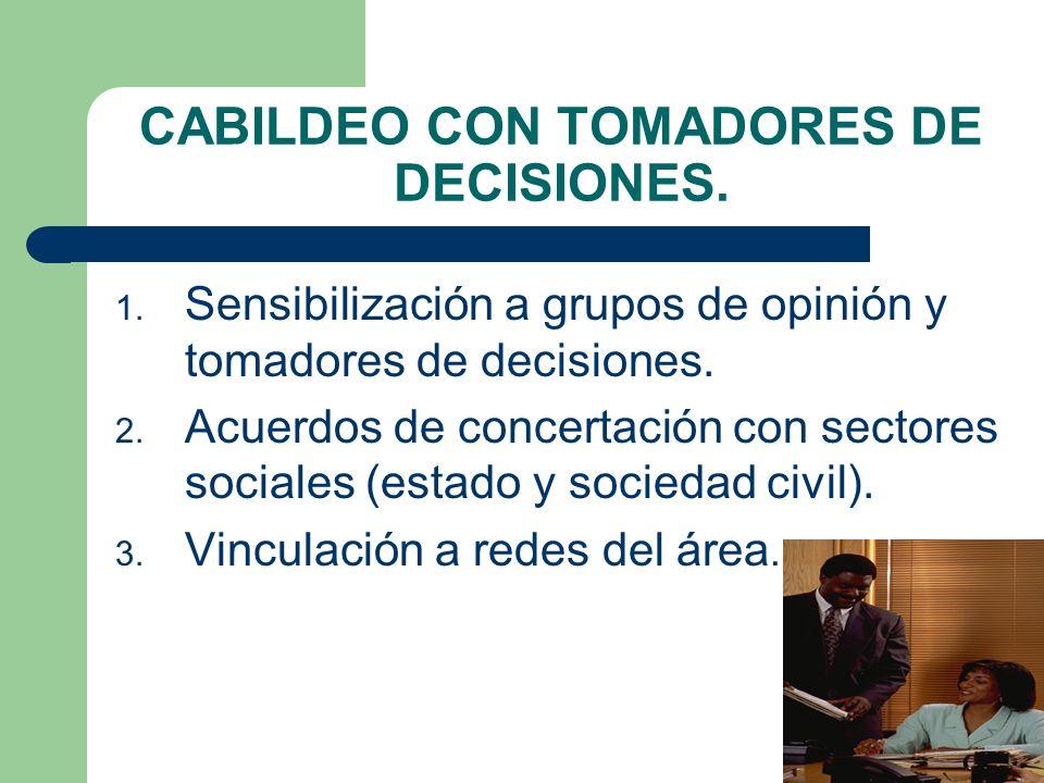 CABILDEO CON TOMADORES DE DECISIONES. 1. Sensibilización a grupos de opinión y tomadores de decisiones. 2. Acuerdos de concertación con sectores socia