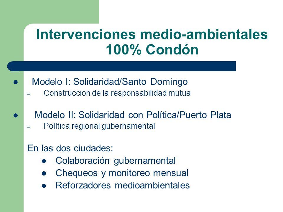Intervenciones medio-ambientales 100% Condón Modelo I: Solidaridad/Santo Domingo – Construcción de la responsabilidad mutua Modelo II: Solidaridad con