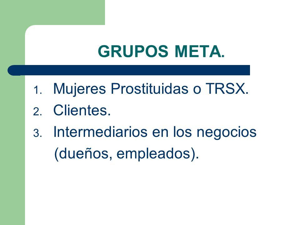 GRUPOS META. 1. Mujeres Prostituidas o TRSX. 2. Clientes. 3. Intermediarios en los negocios (dueños, empleados).