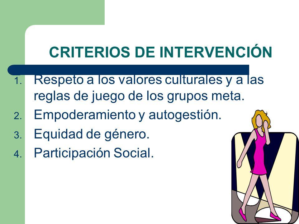 CRITERIOS DE INTERVENCIÓN 1. Respeto a los valores culturales y a las reglas de juego de los grupos meta. 2. Empoderamiento y autogestión. 3. Equidad
