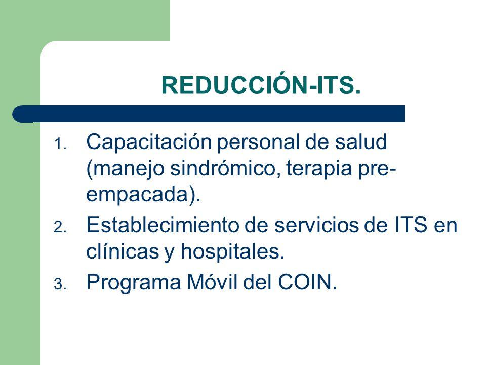 REDUCCIÓN-ITS. 1. Capacitación personal de salud (manejo sindrómico, terapia pre- empacada). 2. Establecimiento de servicios de ITS en clínicas y hosp
