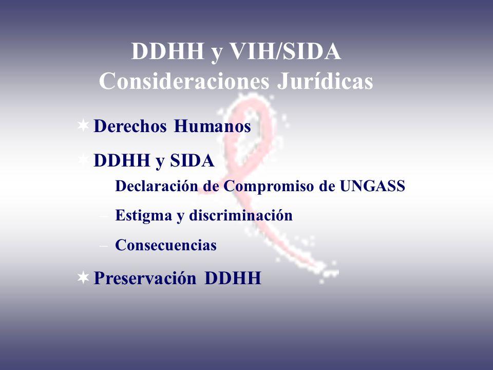 DDHH y VIH/SIDA Consideraciones Jurídicas Derechos Humanos DDHH y SIDA –Declaración de Compromiso de UNGASS –Estigma y discriminación –Consecuencias P