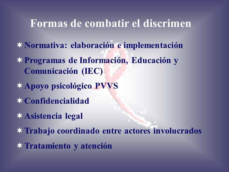 Formas de combatir el discrimen Normativa: elaboración e implementación Programas de Información, Educación y Comunicación (IEC) Apoyo psicológico PVV
