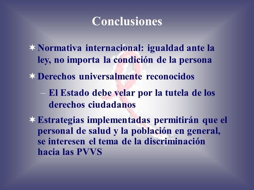Conclusiones Normativa internacional: igualdad ante la ley, no importa la condición de la persona Derechos universalmente reconocidos –El Estado debe