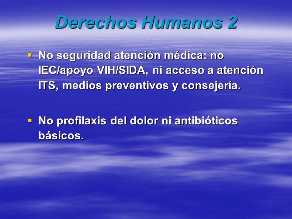 Derechos Humanos 2 No seguridad atención médica: no IEC/apoyo VIH/SIDA, ni acceso a atención ITS, medios preventivos y consejería. No seguridad atenci