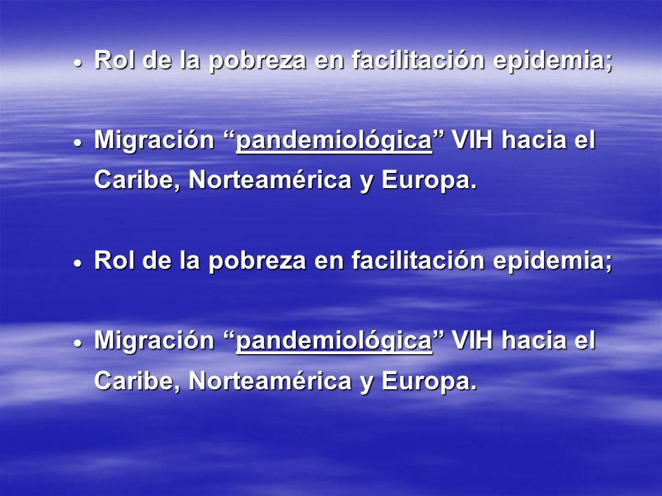 Rol de la pobreza en facilitación epidemia; Rol de la pobreza en facilitación epidemia; Migración pandemiológica VIH hacia el Caribe, Norteamérica y E