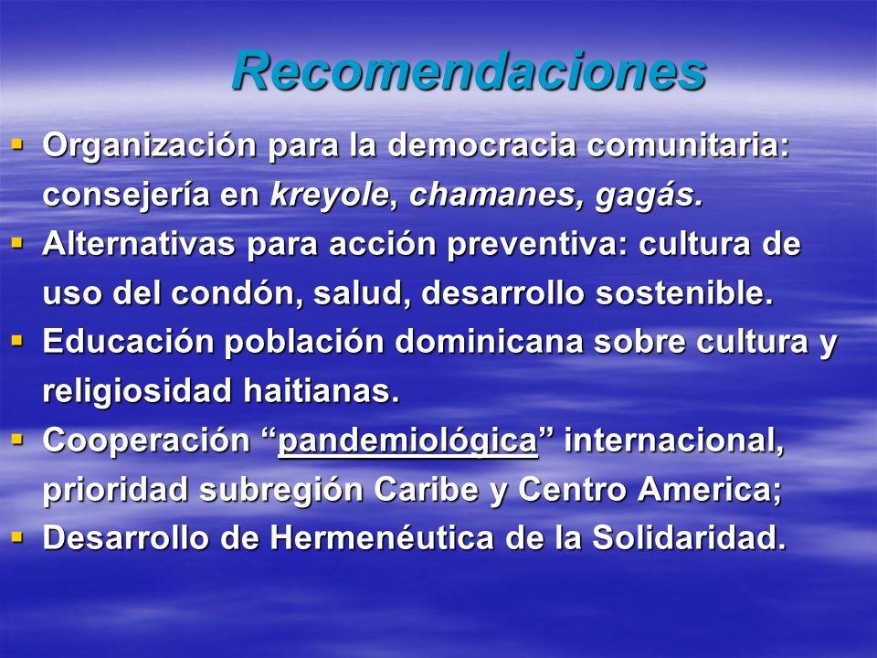 Recomendaciones Organización para la democracia comunitaria: consejería en kreyole, chamanes, gagás. Organización para la democracia comunitaria: cons