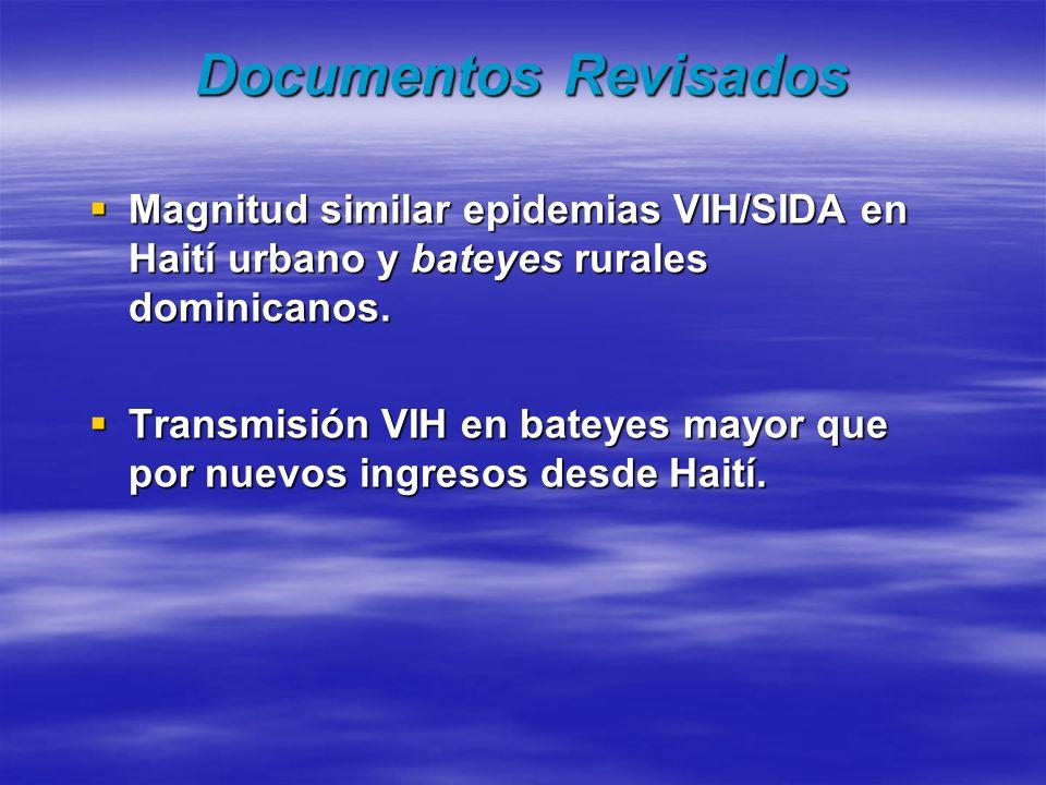 Documentos Revisados Magnitud similar epidemias VIH/SIDA en Haití urbano y bateyes rurales dominicanos. Magnitud similar epidemias VIH/SIDA en Haití u
