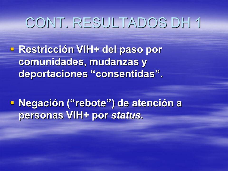 CONT. RESULTADOS DH 1 Restricción VIH+ del paso por comunidades, mudanzas y deportaciones consentidas. Restricción VIH+ del paso por comunidades, muda
