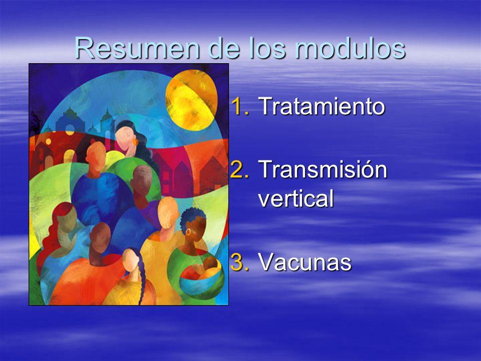 Resumen de los modulos 1.Tratamiento 2.Transmisión vertical 3.Vacunas
