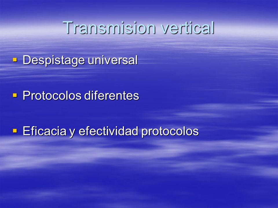 Transmision vertical Despistage universal Despistage universal Protocolos diferentes Protocolos diferentes Eficacia y efectividad protocolos Eficacia y efectividad protocolos